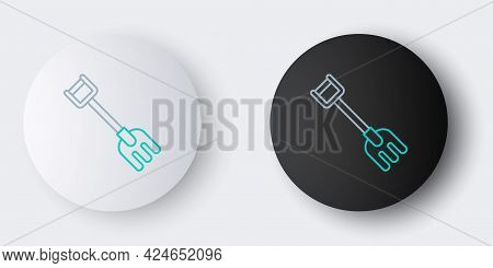 Line Garden Rake Icon Isolated On Grey Background. Tool For Horticulture, Agriculture, Farming. Grou