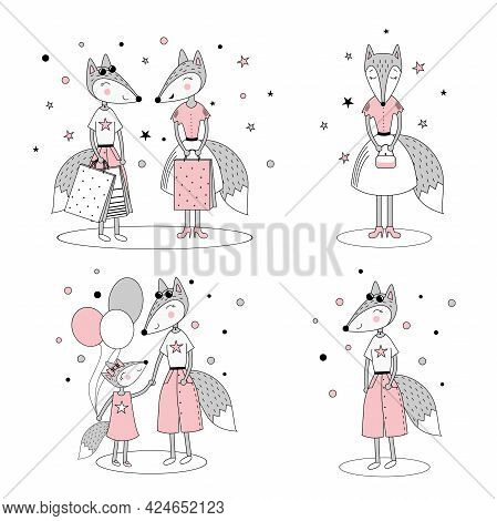 Set Of Cute Stylish Foxes. Fox Girls Shopping, Mom And Daughter. Baby Room Poster, Clothing Print. V