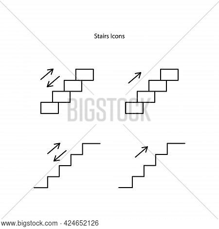 Stairs Icons  Set Isolated On White Background. Stairs Icon Thin Line Outline Linear Stairs Symbol F