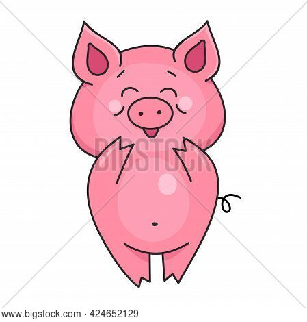 Cute Smiling Pig. Farm Animals. Vector Illustration In Cartoon Style Isolated On White Background