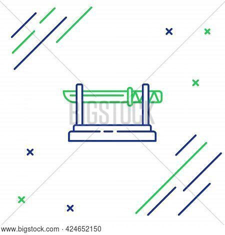 Line Traditional Japanese Katana On A Wooden Stand Icon Isolated On White Background. Japanese Sword