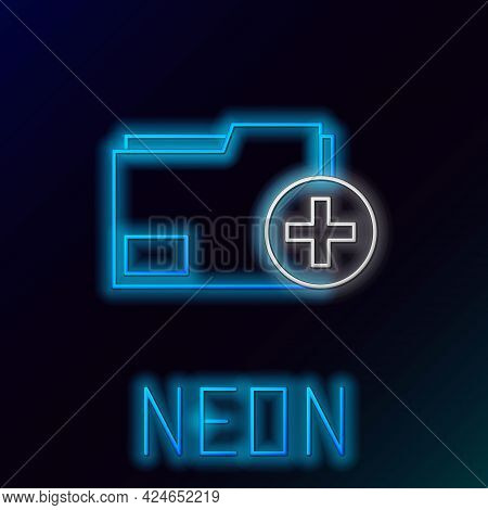 Glowing Neon Line Add New Folder Icon Isolated On Black Background. New Folder File. Copy Document I