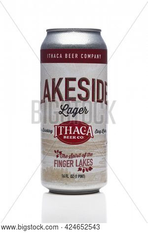 IRVINE, CALIFORNIA - 23 JUNE 2021: A can of Lakeside Lager from the Ithaca Brewing Company.