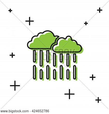 Black Cloud With Rain Icon Isolated On White Background. Rain Cloud Precipitation With Rain Drops. V