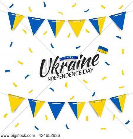 Vector Illustration Of  Ukraine Independence Day. Garland With The Flag Of Ukraine On A White Backgr