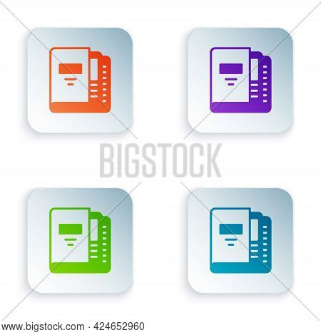 Color Office Folders With Papers And Documents Icon Isolated On White Background. Office Binders. Ar
