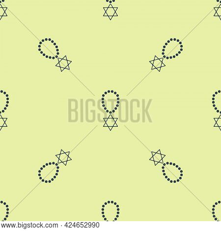 Blue Star Of David Necklace On Chain Icon Isolated Seamless Pattern On Yellow Background. Jewish Rel