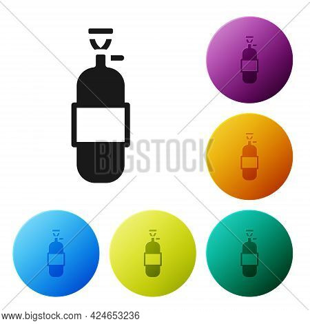 Black Propane Gas Tank Icon Isolated On White Background. Flammable Gas Tank Icon. Set Icons In Colo
