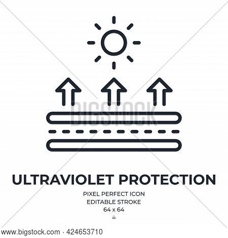 Uv Protection Fabric Feature Editable Stroke Outline Icon Isolated On White Background Flat Vector I