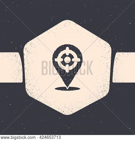 Grunge Target Sport Icon Isolated On Grey Background. Clean Target With Numbers For Shooting Range O