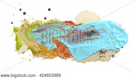 Art Abstract watercolor and acrylic flow blot minimalism painting. Color canvas texture horizontal background.
