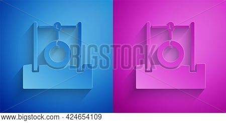Paper Cut Car Tire Hanging On Rope Icon Isolated On Blue And Purple Background. Playground Equipment