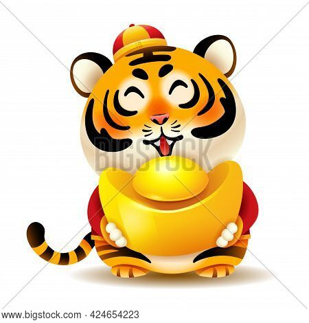 Cute Tiger With Traditional Chinese Costume Hold An Ingot. Isolated. Translation - Good Fortune.