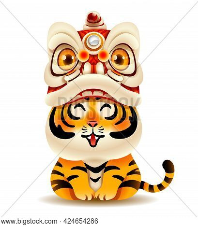 Cute Tiger With Chinese New Year Lion Dance Head. Isolated.