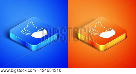 Isometric Milk Jug Or Pitcher Icon Isolated On Blue And Orange Background. Square Button. Vector