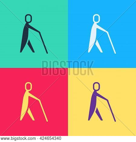 Pop Art Blind Human Holding Stick Icon Isolated On Color Background. Disabled Human With Blindness.