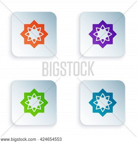 Color Islamic Octagonal Star Ornament Icon Isolated On White Background. Set Colorful Icons In Squar