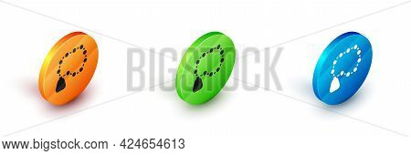 Isometric Rosary Beads Religion Icon Isolated On White Background. Circle Button. Vector