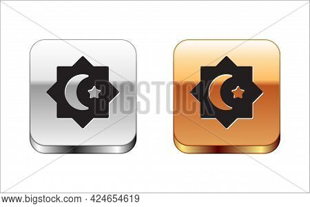 Black Islamic Octagonal Star Ornament Icon Isolated On White Background. Silver And Gold Square Butt