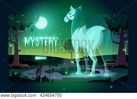Banner Of Mystery With Glowing Horse Ghost In Dark Forest At Night. Vector Landing Page With Cartoon