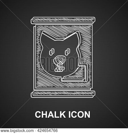 Chalk Canned Food Icon Isolated On Black Background. Food For Animals. Pet Food Can. Dog Bone Sign.