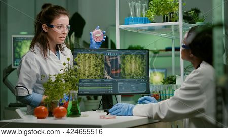 Two Scientists Talking About Vegan Meat Sample Typing Biotechnology Expertise On Computer. Medical T