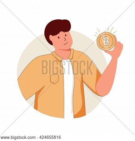 Businessman Show Gold Coin, Bit Coin, Btc, New Currency System Concept. Hand Drawn Style Vector Desi