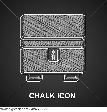 Chalk Jewelry Box Icon Isolated On Black Background. Casket With Jewelry. Vector
