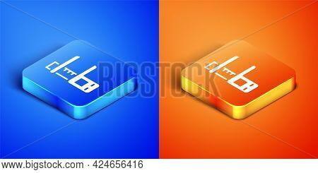 Isometric Calliper Or Caliper And Scale Icon Isolated On Blue And Orange Background. Precision Measu