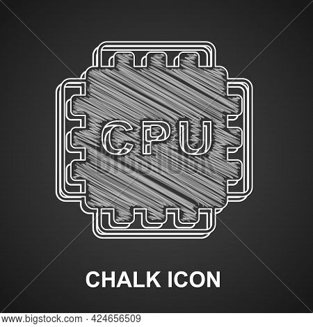Chalk Computer Processor With Microcircuits Cpu Icon Isolated On Black Background. Chip Or Cpu With
