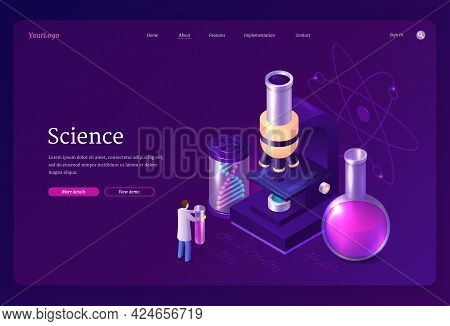 Science Isometric Landing Page, Tiny Scientist Working In Lab With Huge Microscope, Medical Beaker A