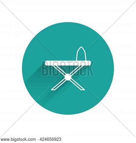 White Electric Iron And Ironing Board Icon Isolated With Long Shadow Background. Steam Iron. Green C
