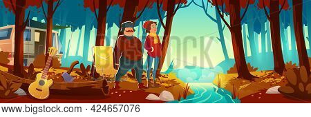 Autumn Forest With Brook, Camp And People. Vector Cartoon Landscape Of Woods With Orange Grass And L