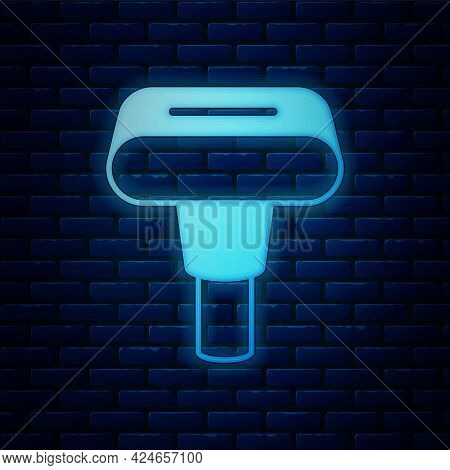 Glowing Neon Portable Home And Travel Garment Steamer For Clothes Icon Isolated On Brick Wall Backgr