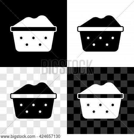 Set Plastic Basin With Soap Suds Icon Isolated On Black And White, Transparent Background. Bowl With
