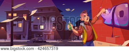 Graffiti Painter In Night Ghetto Cartoon Banner. Boy Teenager Painting On Brick Wall With Aerosol In