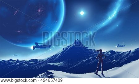 Science Fiction Vector Illustration Of A Lady Standing On The Peak Looking At Vast Mountain Scenery