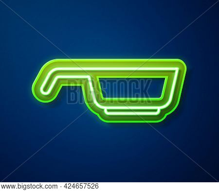 Glowing Neon Line Frying Pan Icon Isolated On Blue Background. Fry Or Roast Food Symbol. Vector