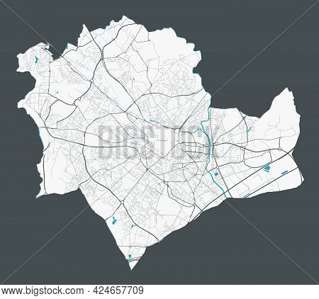 Montpellier Map. Detailed Map Of Montpellier City Administrative Area. Cityscape Panorama. Royalty F