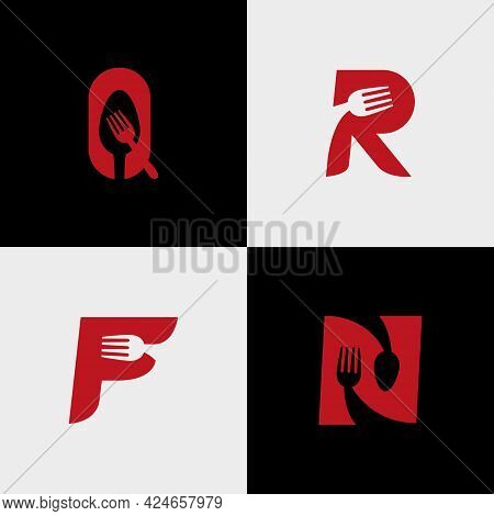 Letter R. Letter Q. N. F Spoon And Cutlery For The Logo Of A Restaurant, Cafe Or Other Place To Eat