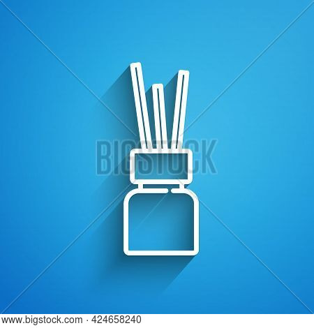 White Line Aroma Diffuser Icon Isolated On Blue Background. Glass Jar Different With Wooden Aroma St
