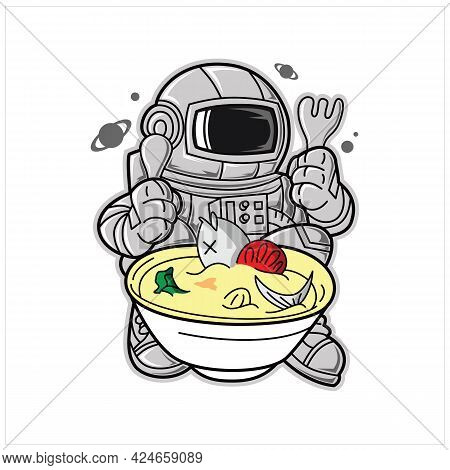 Cartoon Space Background. Galaxy Universe Design With Astronaut, Spaceship And Moon. Sun System View