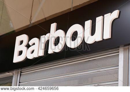 Toulouse , Occitanie France - 06 20 2021 : Barbour Logo Text Store Front Sign Brand Shop Fashion Ret