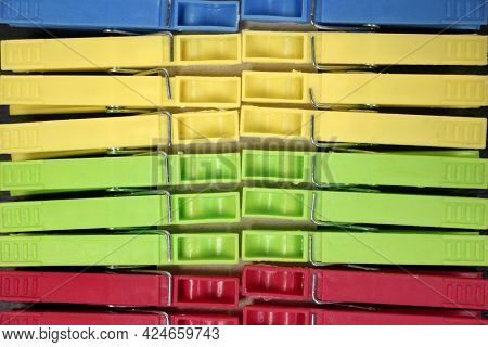 Colored clothespins. Close-up. Bright clothespins