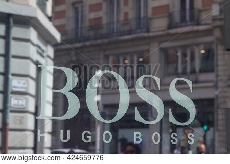 Toulouse , Occitanie France - 06 20 2021 : Hugo Boss Logo Shop Sign And Brand Text Store Windows Bou