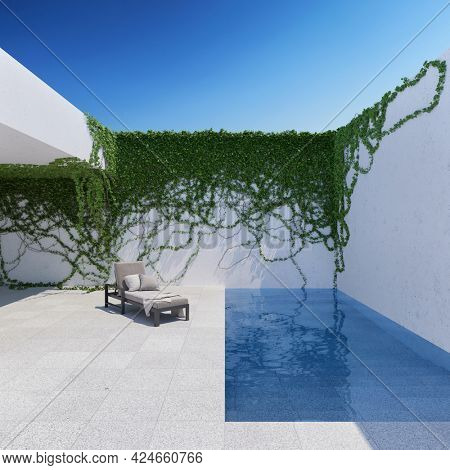 Courtyard with twine plants chaise lounge and swimming pool. 3D illustration, rendering.