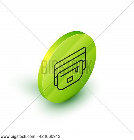 Isometric Line Waist Bag Of Banana Icon Isolated On White Background. Green Circle Button. Vector