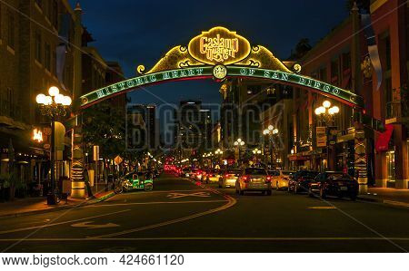 San Diego,ca - May 05, 2014: Sign At The Entrance To The Gaslamp Quarter In Downtown San Diego. Hist