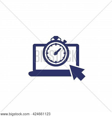 Timer And Countdown Icon With A Laptop