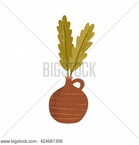 Clay Vase With Green Leaves. Cut Green Leaf In Earthen Jug. Minimalistic Foliage Decoration For Cozy